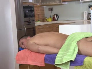 Gay dude is engulfing ramrod hungrily during massage