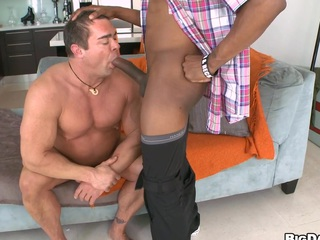 Full-grown mendicant is sucking a throb chocolate hindrance and drinks his cum!