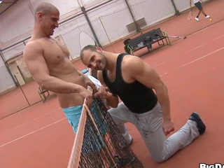 They play a game of tennis and after become absent-minded he solely sucks his cock!