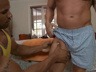 Sexy hunk is getting his pecker sucked by delighted masseur