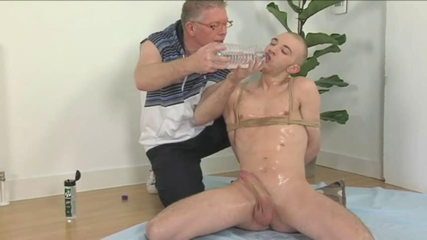 Perverted aged man with an increment of tied empty twink