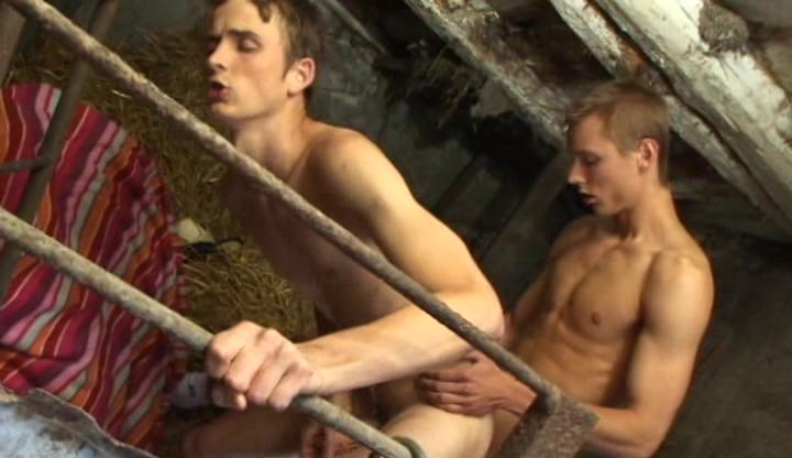 Fidgety farmer gay boys fuck each other doggy style beyond everything hay stack