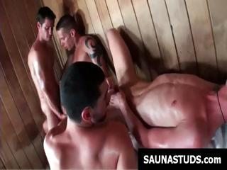 Gay boys in the sauna execute some hot sucking and ass fucking