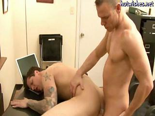 Tatoo gay sucking a load of shit and gets his asshole drilled