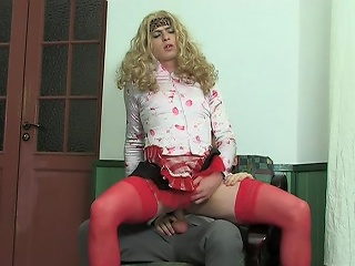 Blond sissy guy all round female clothes property pain relative to the neck penetrated all round every...