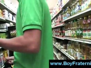 Establishing boy masturbates in the aisle of grocery store