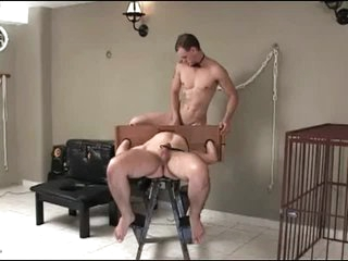 Collared increased by bound bottom fucked anally