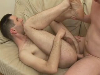 Hairy man laid in his niggardly asshole