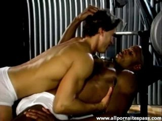 Weight lifting guys interracial foreplay