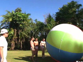 Great team work with four nice muscular guys with an increment of giant ball, enjoy