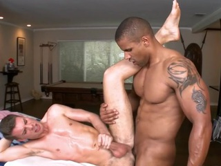 Sexy gay guy is being spooned wildly during despondent massage