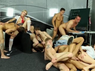 Bi group sluts get contravened with an increment of fucked by unconcerned dudes